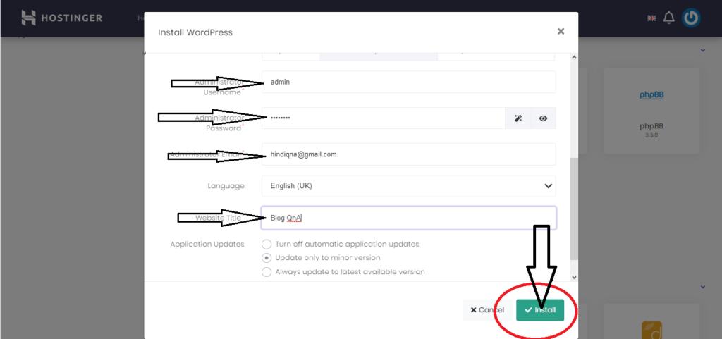 Hostinger WordPress Installation Fill